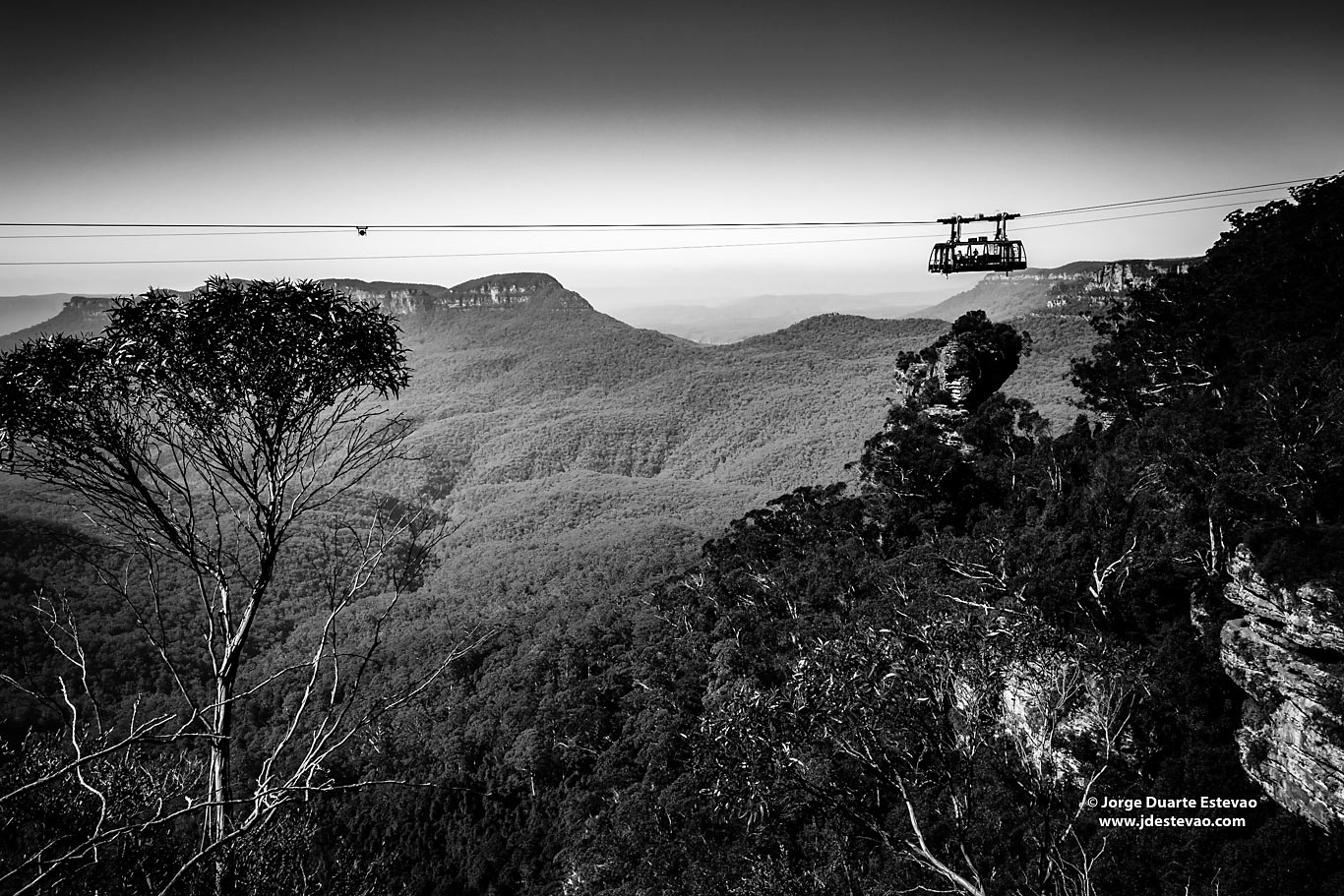 black white Katoomba Cable car tourists blue Mountains National australia