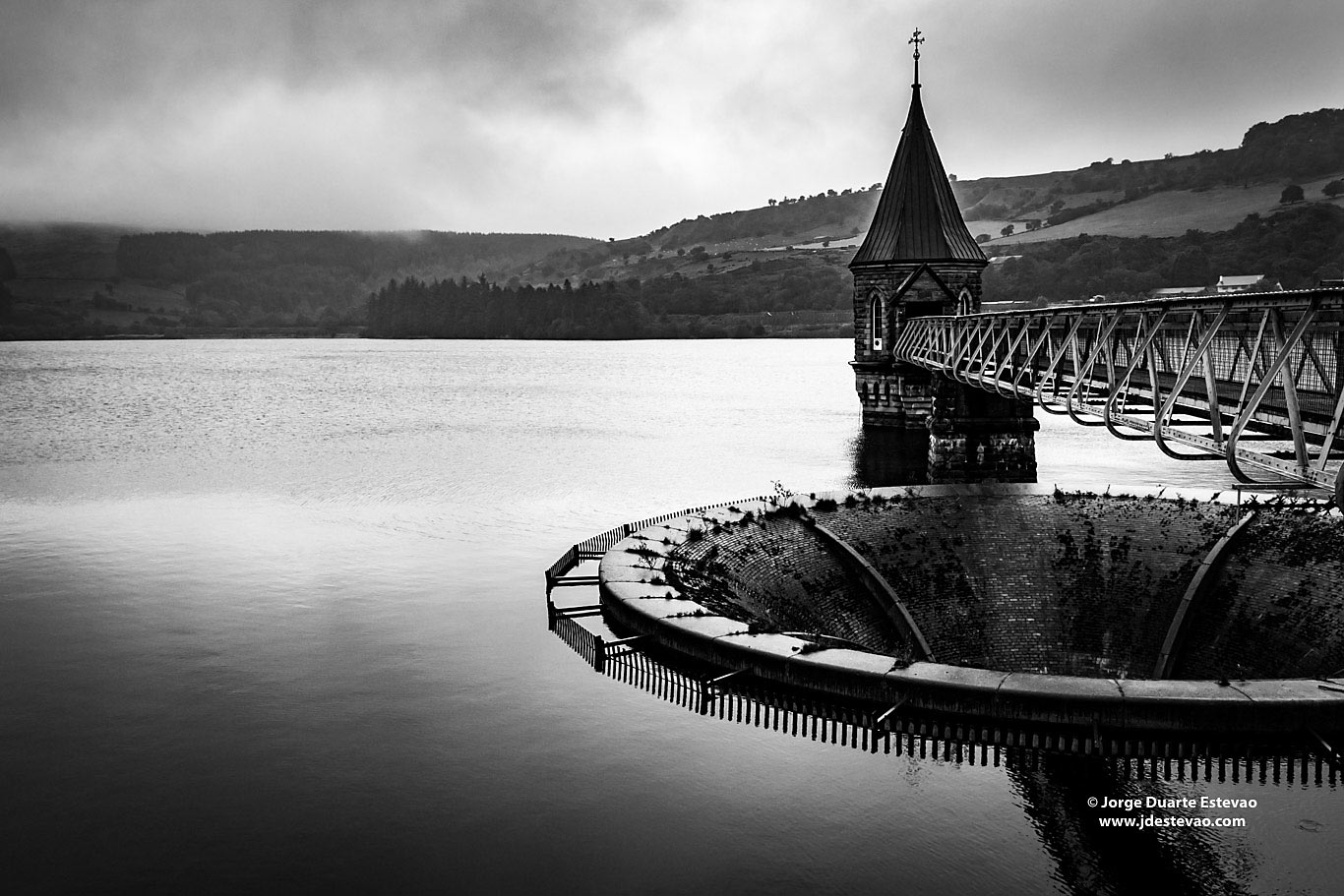 black white Pontsticill Reservoir Brecon Beacons National Park Wales