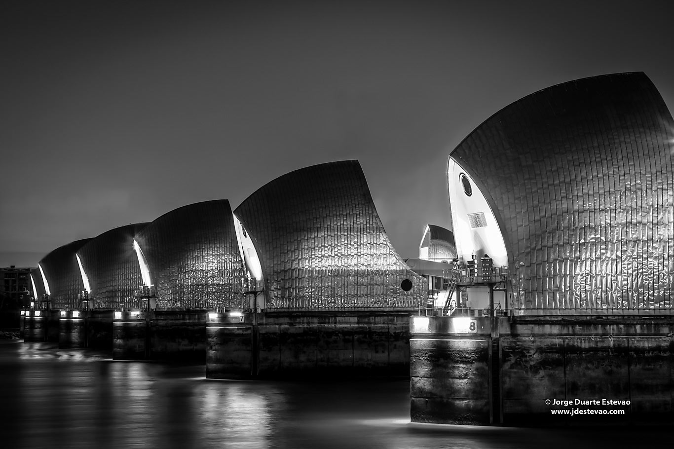 black white Thames Barrier London night