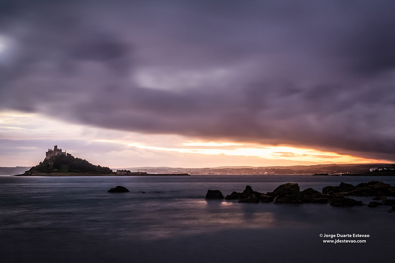 St Michael's Mount island Cornwall United Kingdom Sunset storm