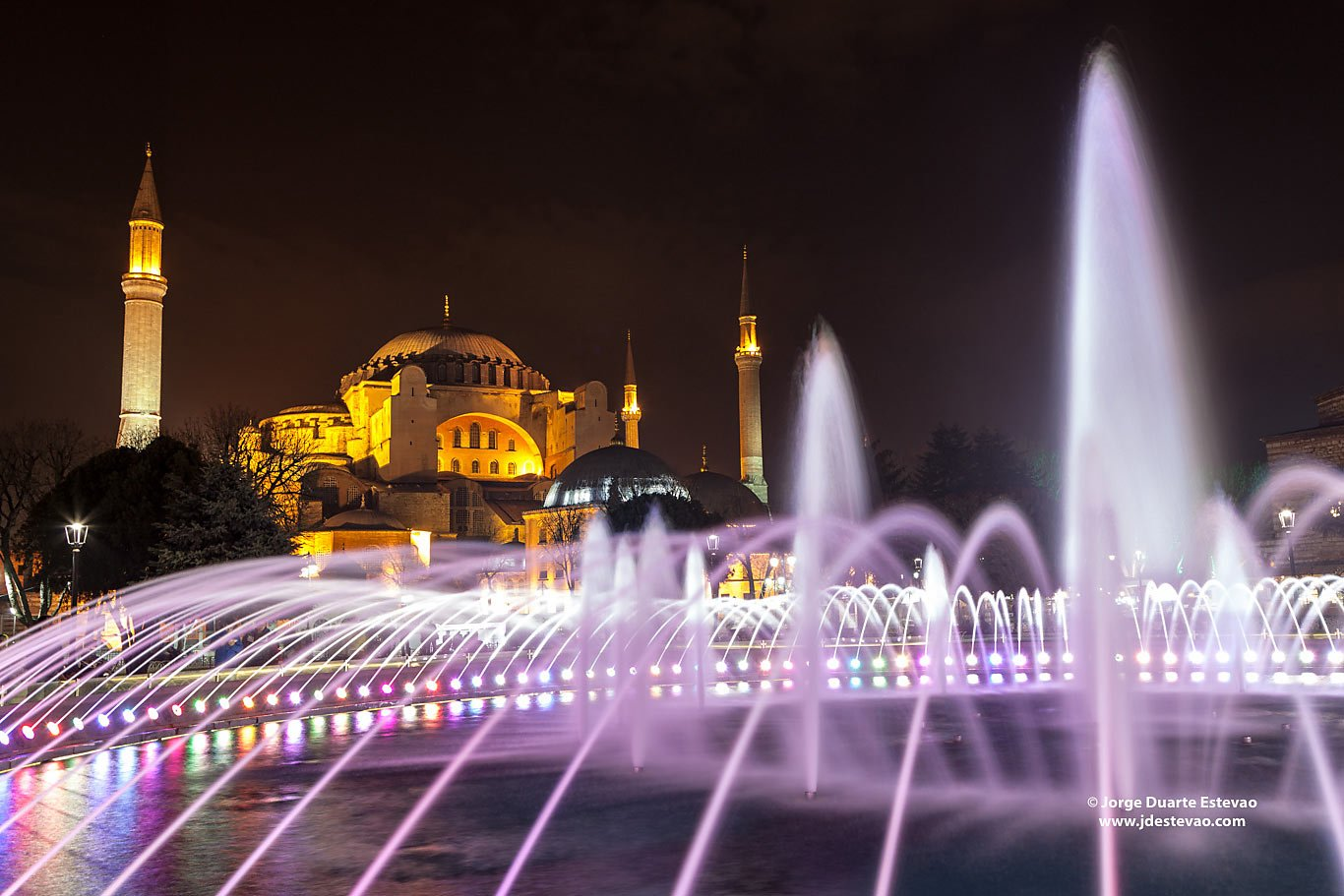 water fountain Hagia Sophia museum night Istanbul Turkey