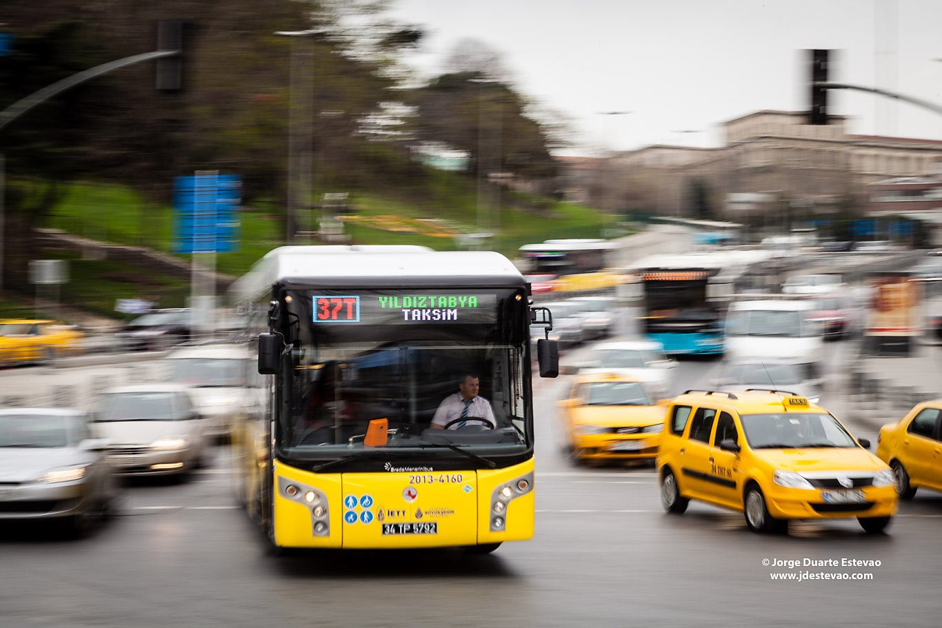 Yellow taxis bus Rush hour traffic Istanbul Turkey