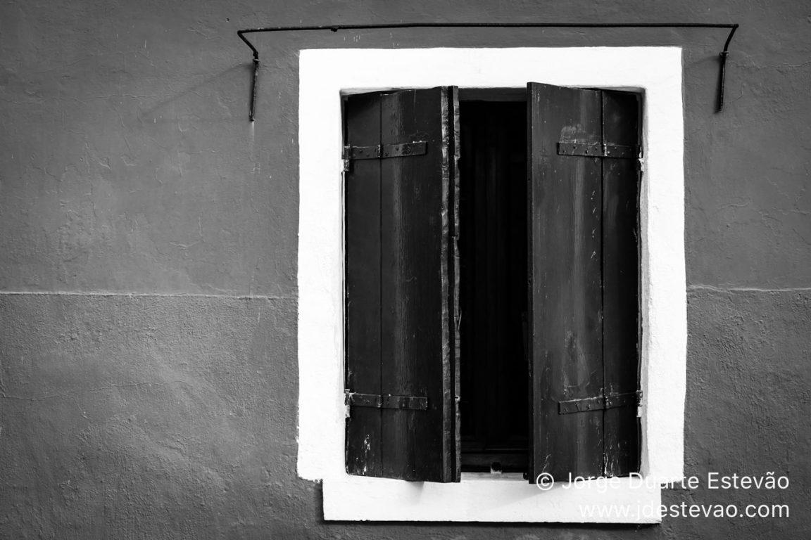 Windows in Burano, an island near Venice, in Italy