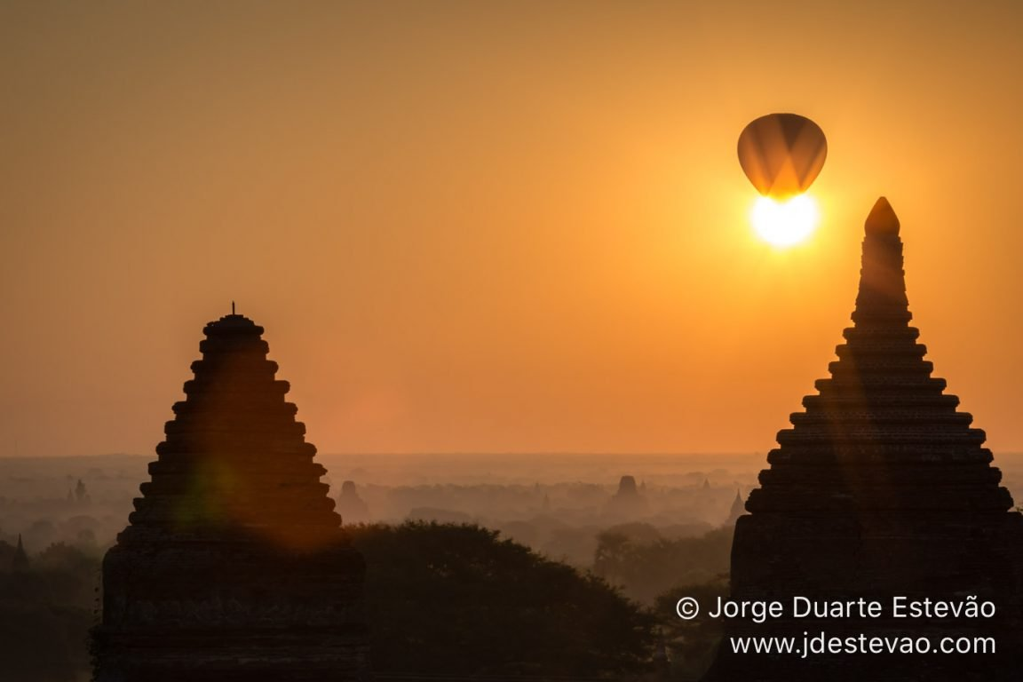 Hot balloon flight at sunrise in Bagan, Myanmar