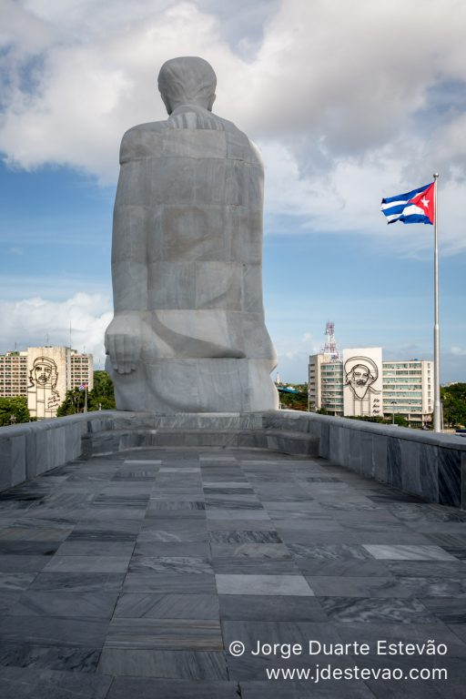 View from the top of the monument at Revolution Square, with giant images of Che Guevara and Fidel Castro hit by strong sunshine, Havana, Cuba